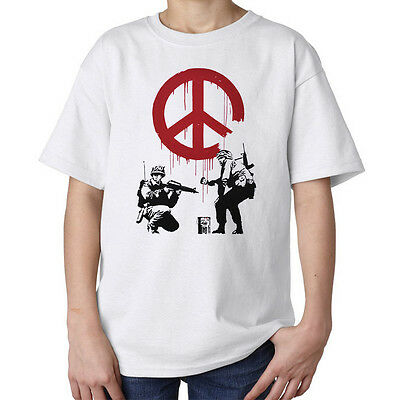 Soldiers painting hippie peace sign Banksy street art kids unisex t shirt white