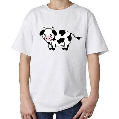 Cute little cow art pink nose fashioned funny kids unisex t shirt white