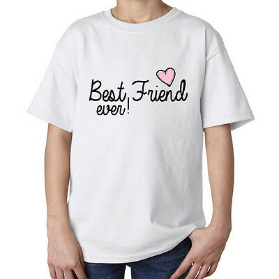 Best friend ever pink heart fashioned stylish quality kids unisex t shirt white