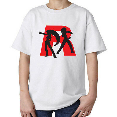 Pokemon Team Rocket R logo Jessie James villain evil kids unisex t shirt white
