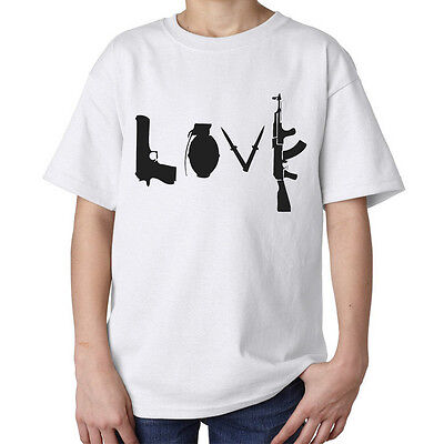 Banksy street art love guns AK-47 AK47 AK 47 top style kids unisex t shirt white