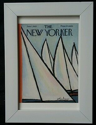 New Yorker magazine framed postcard print 6x4 NEW sailing boats water sails