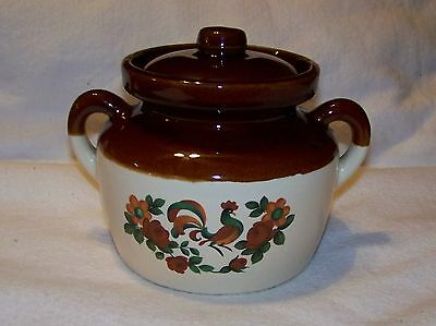 VINTAGE McCOY SMALL BEAN POT #341 WITH ROOSTER FLORAL DECOR
