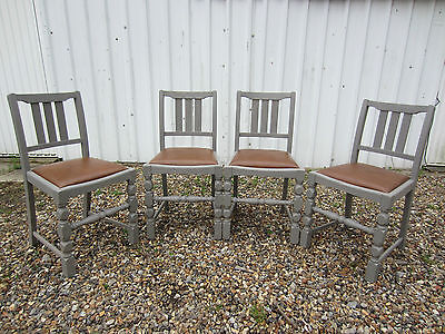 Lovely Set of Four Solid Oak Dining Chairs Painted Farrow & Ball