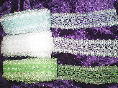 15 metre pack eyelet/coathanger lace in assorted opal colours #04