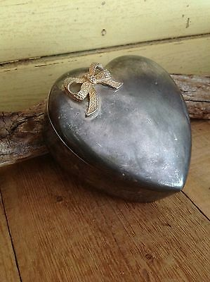 Vintage Pewter Heart Shaped Trinket Jewellery Box With Bow
