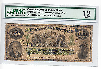 ✪ 1865 The Royal Canadian Bank - $1 Bank Note - Toronto, Canada West - PMG F12