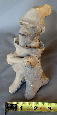 Pre-Columbian Maya Jaina artifact standing figure figurine cap scroll 650-800 AD