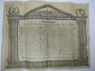 Original Early 1800's Offenburg Germany Andefen Family Children Genealogy Chart