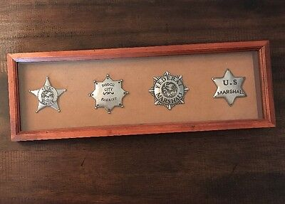 Wild West Lawman Badges in Wooden Case, Wall Shadow Box Decor, Texas Ranger +