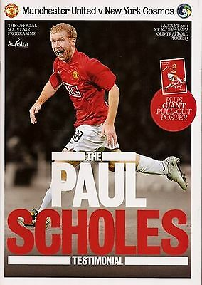 PAUL SCHOLES TESTIMONIAL 2011 MANCHESTER UNITED v NEW YORK COSMOS MINT