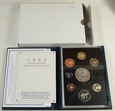 1993 Royal Mint Uk 9 Coin Proof Set W/ Blue Leather Box & Coa, Gem Proof