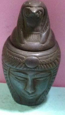 Egyptian Antique, HORUS Symbol of protection,  Canopic Jar 91 g, see description