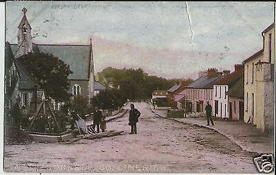 Castleconnell, Co Limerick, colour photo postcard of street project sent in 1905