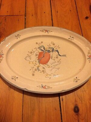 "International China - Marmalade Geese Large 15"" Oval Serving Platter Japan Ivory"