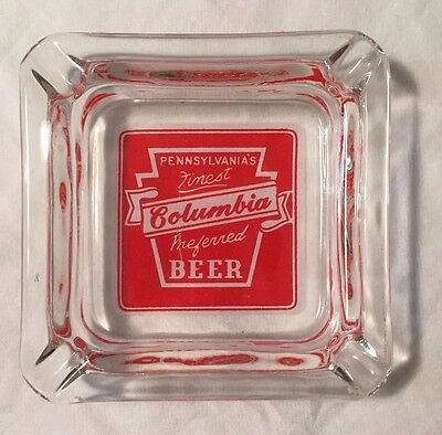 Columbia Beer Square Glass Ash Tray