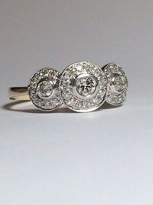 Vintage 9 ct Yellow and White gold Natural Diamond Ring