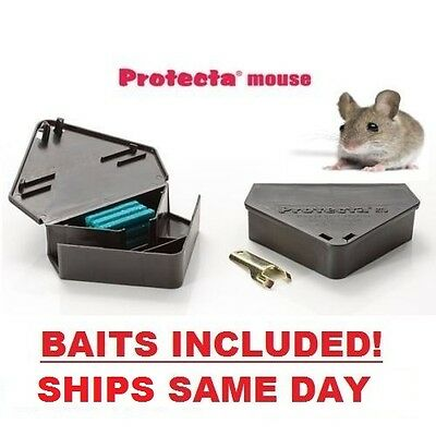 3 x Mouse Trap Bait stations Plastic Lockable with Key, With Baits!