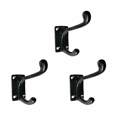 3 Hook Wrought Iron Black Double 4 | Renovators Supply