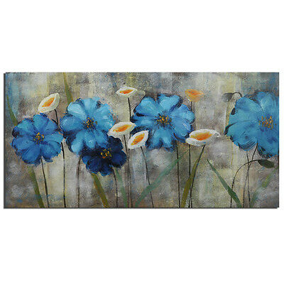 Modern Flower Oil Painting Canvas Abstract On Wall Art Decor Handpainted Framed