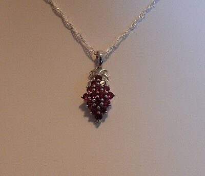 2.34cts Natural Rhodolite Garnet Sterling Silver Pendant with chain