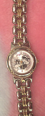 Looney Tunes Pepe Lepew Skunk with Penelope Women's Silver Metal Wrist Watch