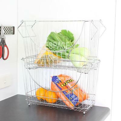 NEW Open Front Stacking Basket Chrome Large for Pantry Laundry Cupboard