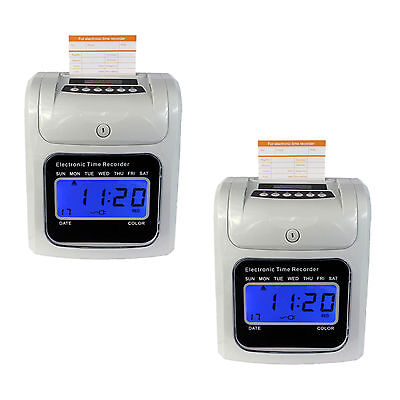 2Pcs Employee Attendance Time Clock Machine Print Paper Card Work Recorder Hot