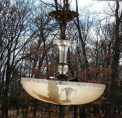 Vintage Art Deco Frosted Satin Glass Ceiling Light Fixture Chandelier Rose Shade