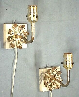 Pair Mid Century Classical Regency Marble+Brass Wall Sconces