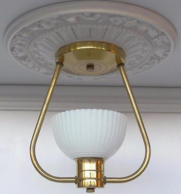 Antique Art Deco Brass / Opalescent Glass Slip Shade Ceiling Light, Hall Bath