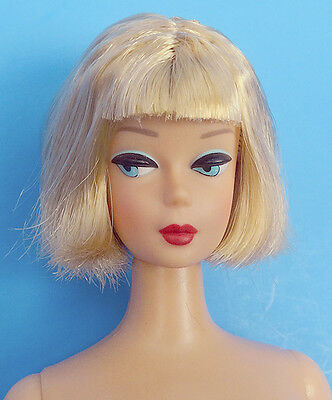 "VINTAGE BARBIE AMERICAN GIRL Blonde Repro Reproduction Nude 12"" Doll & Stand"