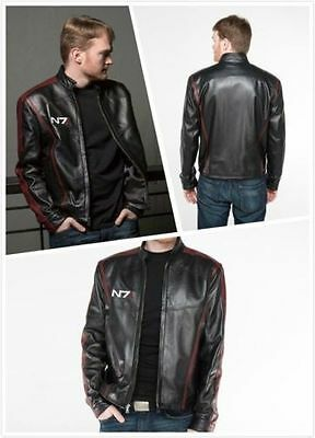 HOT 1 Mass Effect 3N7 commander shepard stylish black leather jacket coat