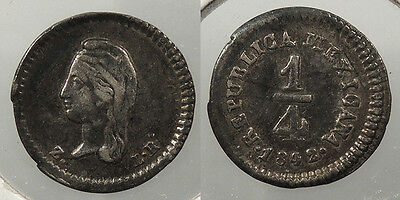 MEXICO: 1842-Z LR 1/4 Real #WC60704