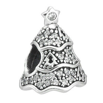 CHRISTMAS TREE Bead 925 Solid Sterling Silver Clear Pave Charm for Bracelet