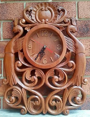 Vintage Retro Wooden Carved Handmade Wall Clock Rustic Timber Decorative Wood