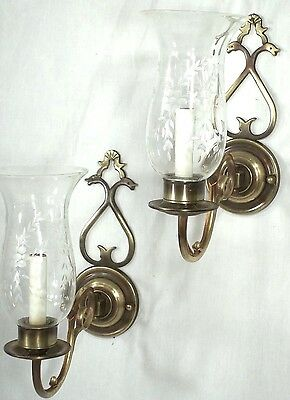 Pair Mid Century Heart Back Brass Sconces With Etched Hurricane Shades