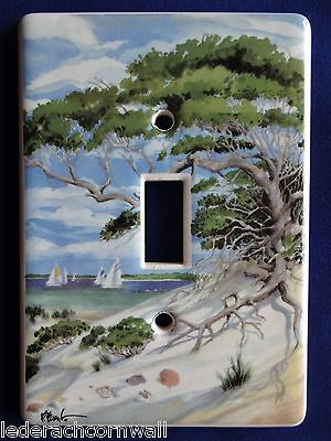 Porcelain Single Toggle Switch Plate with Seascape/Ocean Scene – Signed P. Brent
