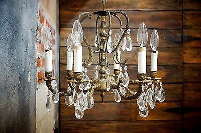 Vintage Petite Brass Spanish Chandelier Lighting 6 arm Crystals Ornate Mid Cent