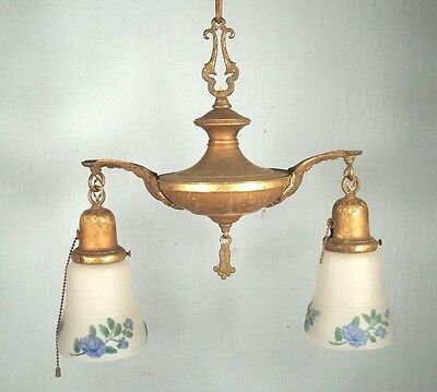 ANTIQUE 19th CENTURY VICTORIAN ART NOUVEAU DOUBLE ARM CHANDELIER WITH SHADES