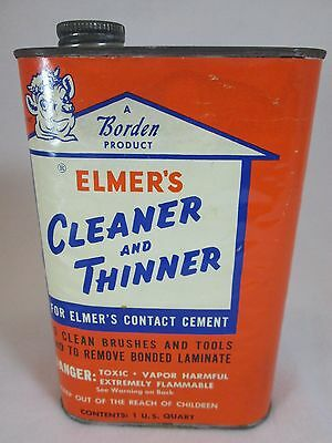 Vintage 1960's Borden Elmer's empty metal 1 qt. Cleaner & Thinner can