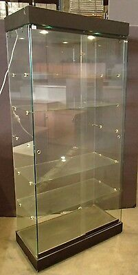 Upright Glass Display Cabinet w/ Black Base and Top, Down light 32370