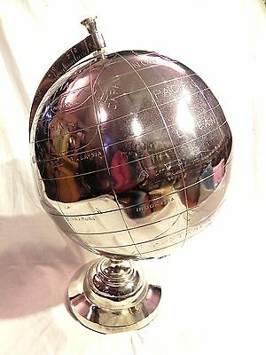 Silver Finish Nautical Maritime~ Globe ~ Table Top ~ Earth  /  World Globe  20""