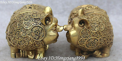 Collect Chinese Bronze Wealth Money Coin Yuanbao Pig Pigs Animal Statue Pair