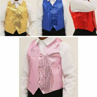 Unisex SEQUIN VEST Waistcoat Dance Party Gold Costume Mens Womens Boys Girls