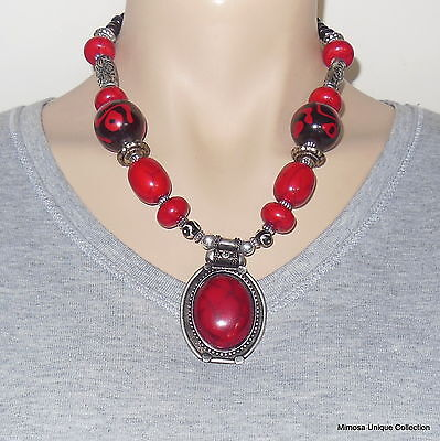 NL-17 NEW STYLE LATEST FASHION Nepalese Tibetan Handmade Coral Pendant Necklace
