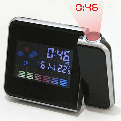 Digital Projection Snooze Alarm Clock LED Backlight Weather Station Reliable