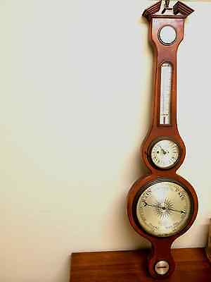 "Vintage P. F. Bollenbach 40"" Jeweled Mahogany Banjo Barometer Weather Station"