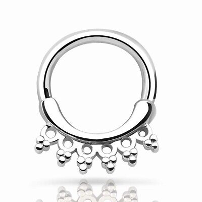1PCS 100% 316L Surgical Steel Five CZ Gem Septum Clicker Nose Ring Body Jewelry