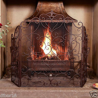 Cast Iron Country Style Farmhouse Fire Guard Screen, Amazing Quality By Dibor